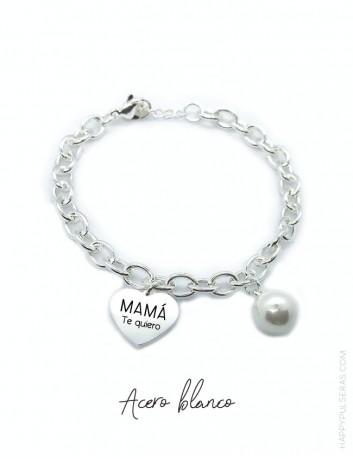 Pulsera acero personalizada para mamá, con corazón grabado con su nombre o palabras en happypulseras