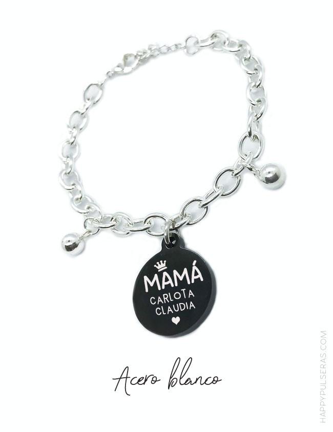 Pulsera personalizada para mamá de acero con medalla de titanio en negro para grabar dedicatoria.