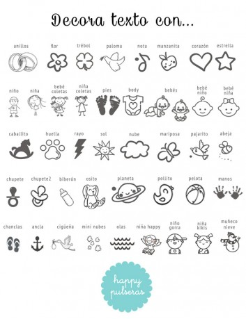 Decora la dedicatoria para mamá con setos iconos que te mostramos de happypulseras.com