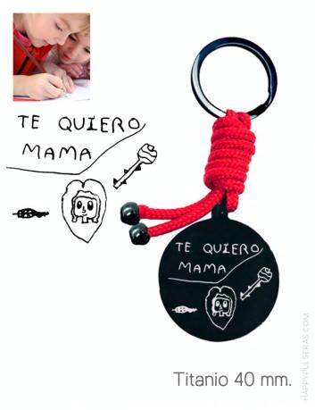 Llavero personalizado para mamá grabado con el dibujo de su hijo. Happypulseras