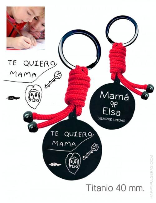 llavero personalizado para mamá grabado con dibujo y dedicatoria en happypulseras