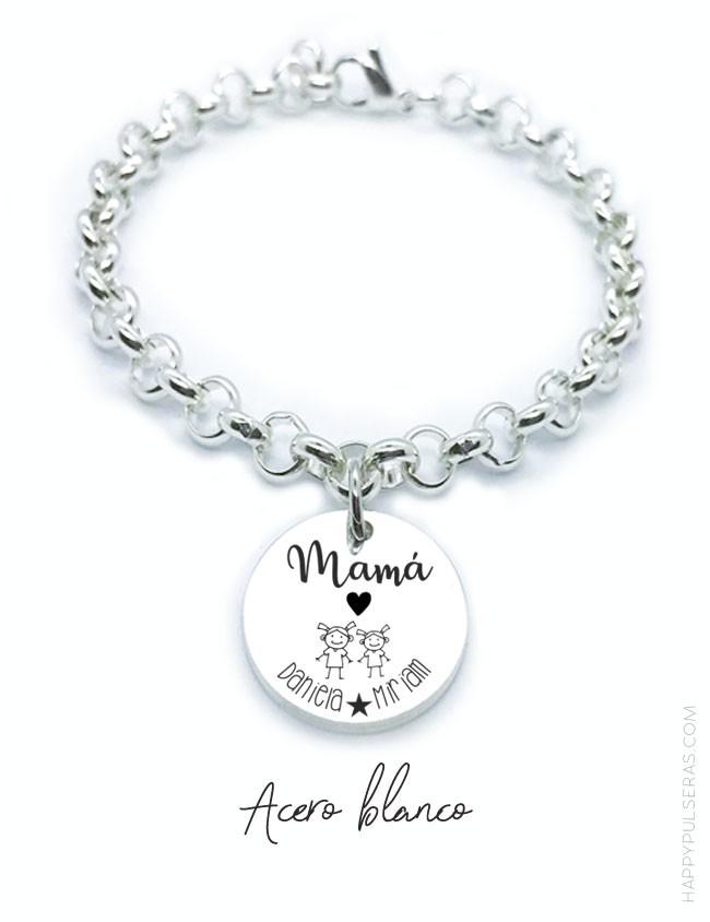 Regala a mami una pulsera de acero blanco con medalla grabada para poner lo que quieras. Happypulseras