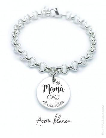 Pulsera de acero blanco MAMAÁ con medalla colgante grabada con dedicatoria diseñada por happypulseras