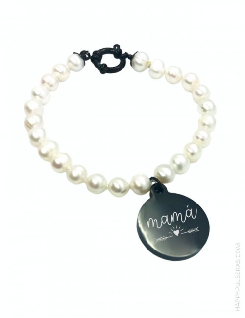 Pulsera perlas para regalar a mamá con medalla de titanio para grabar dedicatoria