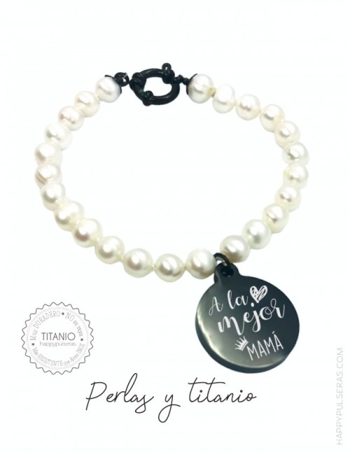 pulsera de perlas para mamá con medalla colgante para grabar Happypulseras