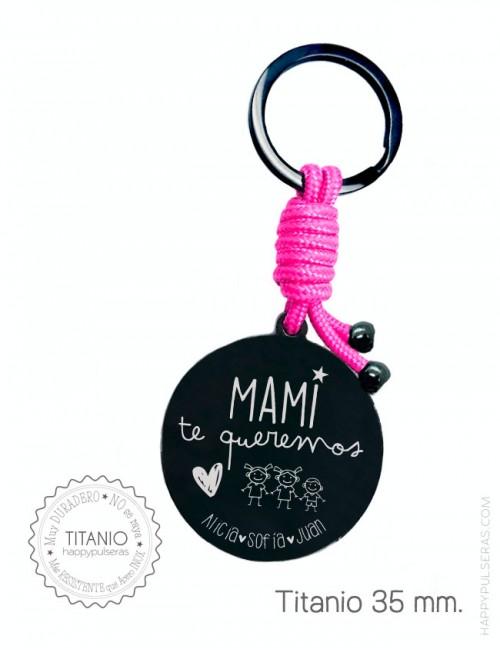 Llavero personalizado para mamá con dedicatoria diseñada para ella. Happypulseras.