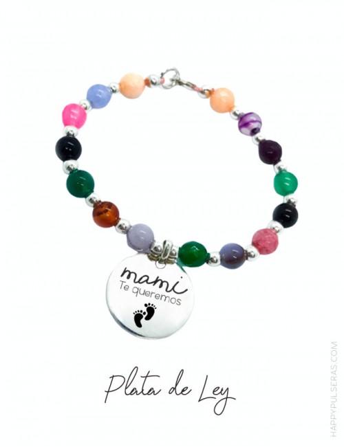 Pulsera de plata y piedras naturales con medalla de 20 mm. para personalizar- happypulseras.com