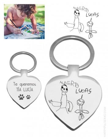 llavero corazón para regalar a mamá con dibujo personalizado- Happypulseras.com