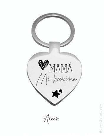 llavero corazón grabado con dedicatoria para mamá- happypulseras