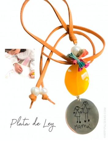 collar personalizado para mamá plata y piedras naturales con dibujo- Happypulseras