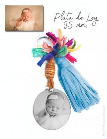 llavero pompón personalizado para mamá grabado con foto- happypulseras