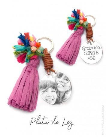 Compra llaveros plata únicos grabados con una foto en nuestra joyería online de regalos personalizados- Happypulseras.com