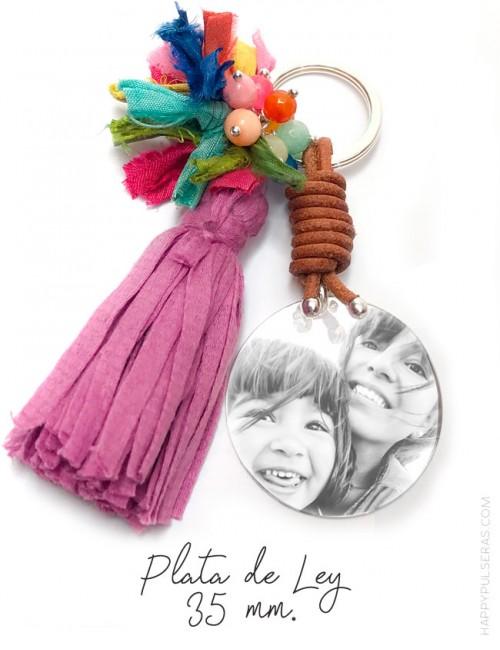llavero pompón personalizado para mamá en plata grabado con foto