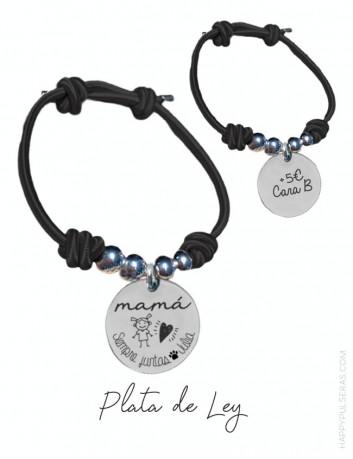 pulsera personalizada para mamá con medalla de plata grabada con dedicatoria- Happypulseras