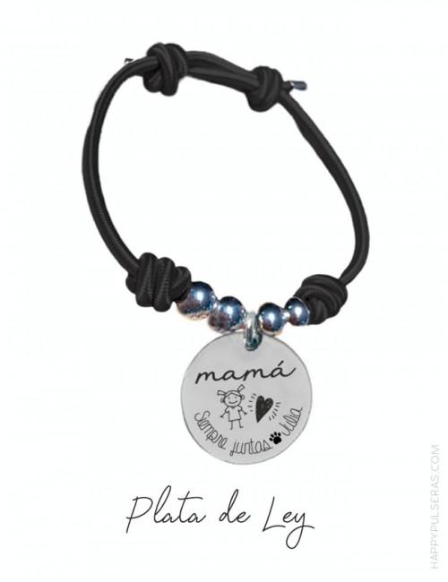 pulsera para mamá de plata grabada con dedicatoria. Elástico negro y plata- happypulseras