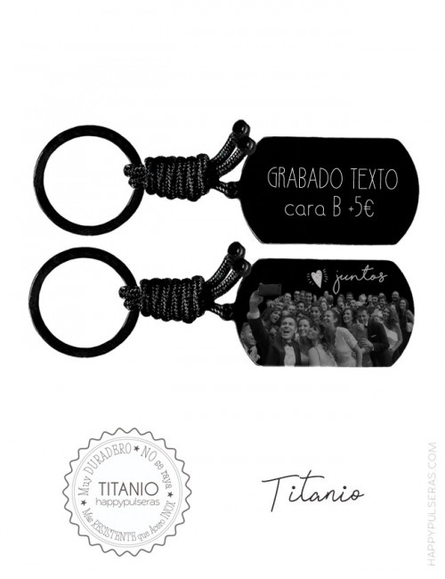 llaveros-titanio-grabados-con-fotos-de-grupo, despedidas, bodas... Happypulseras.com