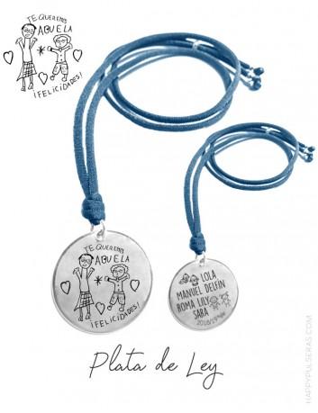 Colgante con medalla de plata grabada a ambas caras con dibujo o escrito de dedicatoria en una cara