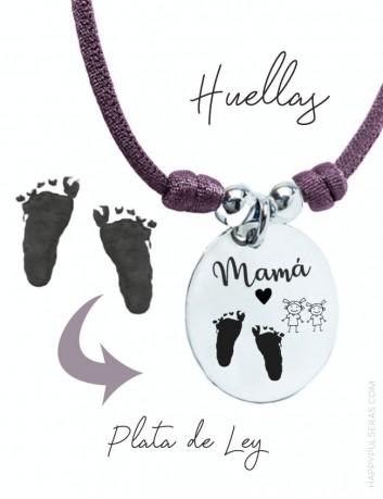 Colgante plata medalla para mamá con huellas de sus peques grabadas- Happypulseras.com