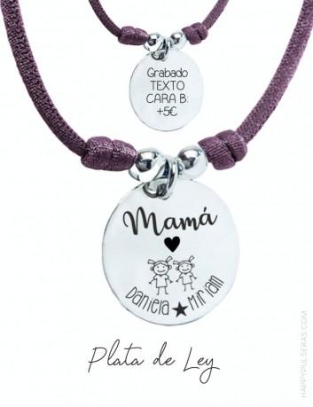 Medalla de plata para regalar a mami con una dedicatoria especial para ella, nosotros lo diseñamos. Happypulseras