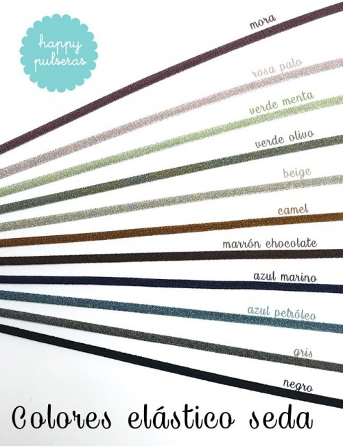 colores del cordón elástico seda que puedes elegir para tu colgante