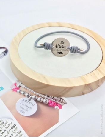 Pulsera de moda con medalla de plata 20 mm. grabada a tu gusto,  con estilo en Happypulseras.com