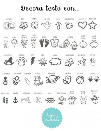 En la cara B, puedes grabar texto decorado con alguno de estos iconos de Happypulseras