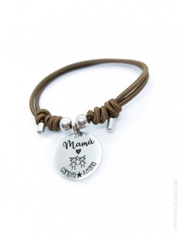 Pulsera de plata personalizada para mama. Nosotros le damos forma a tu dedicatoria. Happypulseras.