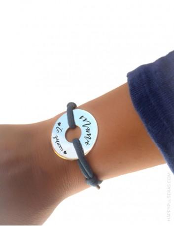 Regalo para mamá, pulsera de plata personalizada con el mensaje que quieras. Happypulseras