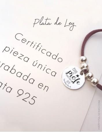 Collares de plata personalizados para profesores grabados con dedicatoria- regalos en Happypulseras