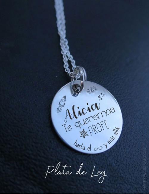 Medallas de plata personalizadas para PROFESORES- Nosotros te lo diseñamos. Happypulseras