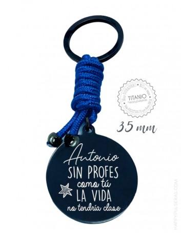Llavero titanio grabado con dedicatoria original para profesor- Fin de curso regalo personalizado- happypulseras.com