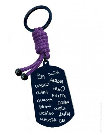 Llavero de titanio negro con nombres escritos a mano, Happypulseras