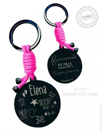 Llavero acero negro y rosa con los datos de nacimiento del bebé grabados. Regalo para llegada del bebé. Happypulseras