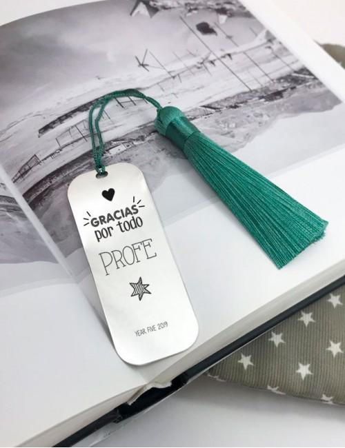 marcapáginas de plata grande para regalar a maestros con el nombre de todos los niños de la clase. Happypulseras