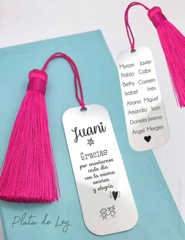 Llavero de plata maciza grabado con dedcicatoria para profesores con el nombre de los alumnos- Happypulseras