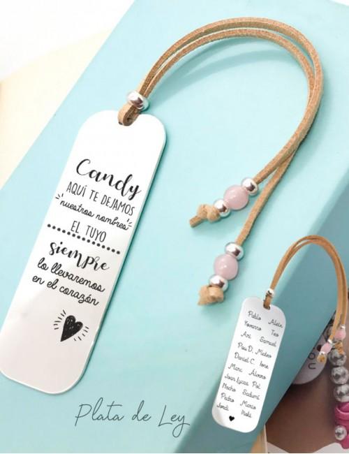 Marcapáginas de plata y cuero personalizado para profesor con dedicatoria y nombres. Happypulseras