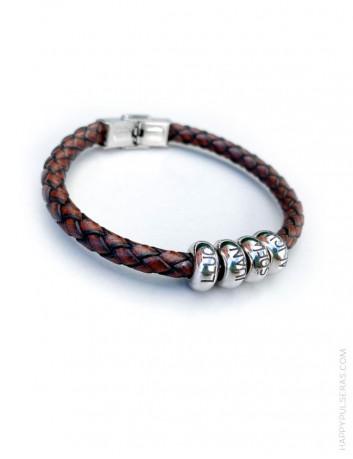 regalo para hombres, pulsera de cuero y acero trenzada personalizada con su nombre o frase color marrón cuero