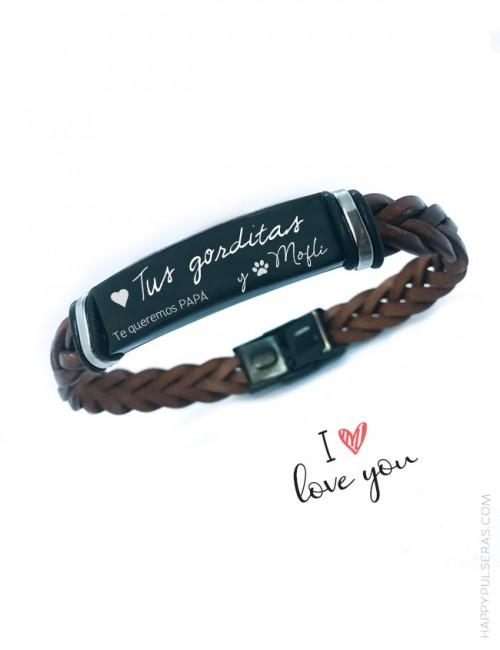Diseña tu pulsera de cuero personalizada con mensaje y dibujos que quieras en Happypulseras