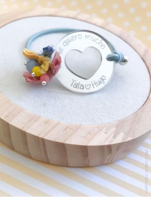 Pulsera personalizada con corazón grabada con el mensaje que quieras. Personaliza tu joya en Happypulseras