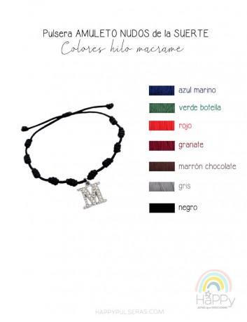 Elige los colores de hilo para tus pulseras de nudos de la suerte con iniciales. Happypulseras. OFERTA 3X2