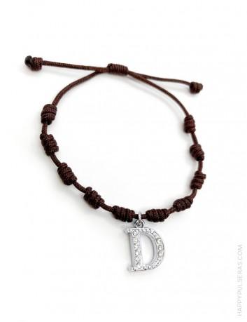 Pulsera amuleto con nudos de la suerte en color marrón chocolate y con la inicial D, Super oferta en Happypulseras