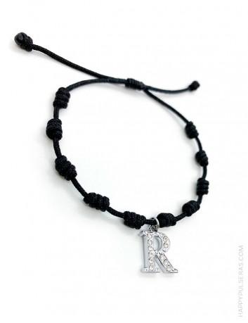 Pulsera amuleto con nudos de la suerte en color negro y con la inicial R, Super oferta en Happypulseras