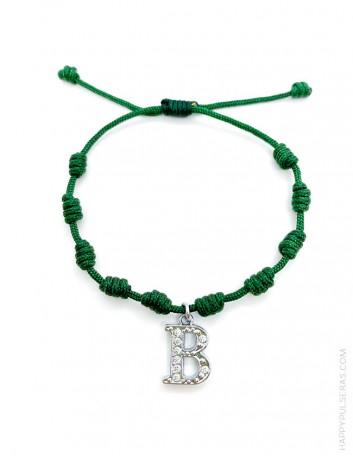 Pulsera amuleto con nudos de la suerte en color verde botella y con la inicial B, Super oferta en Happypulseras