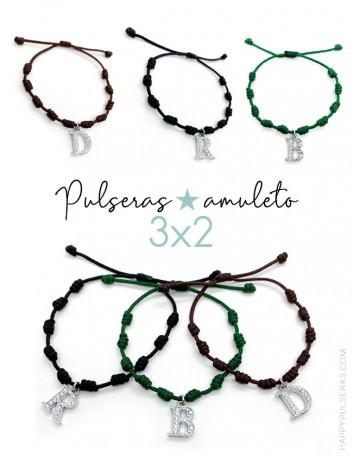 Pulseras amuleto con nudos de la suerte- Iniciales- Oferta 3x2 Te llevas 3 y pagas sólo 2- Happypulseras