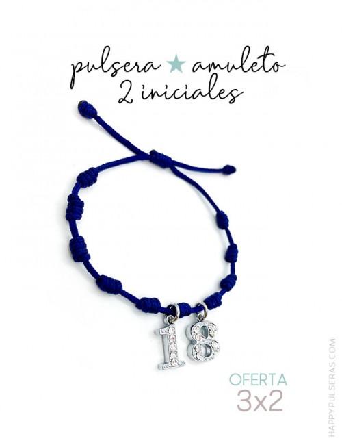 Pulsera amuleto Happy de nudos con 2 iniciales personalizadas, a elegir el color de del cordón e inicial. Oferta 3x2