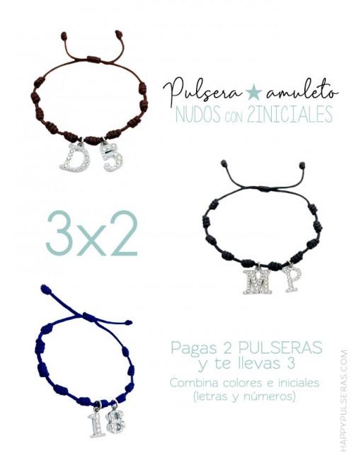 Pulseras amuleto con nudos de la suerte- 2 Iniciales- Oferta 3x2 Te llevas 3 y pagas sólo 2- Happypulseras