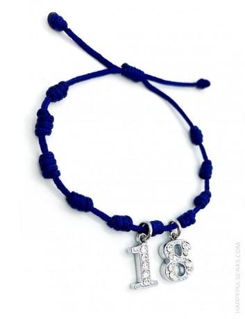 Pulsera amuleto con nudos de la suerte en color azul marino y con 2 iniciales, Super oferta en Happypulseras