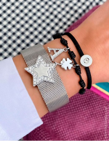 Pulsera malla de acero con estrella 5 puntas de circonitas blancas brillantes. Happypulseras