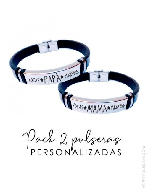 Oferta de dos pulseras de cuero personalizadas a tu gusto. Graba el mensajes que quieras - Happypulseras