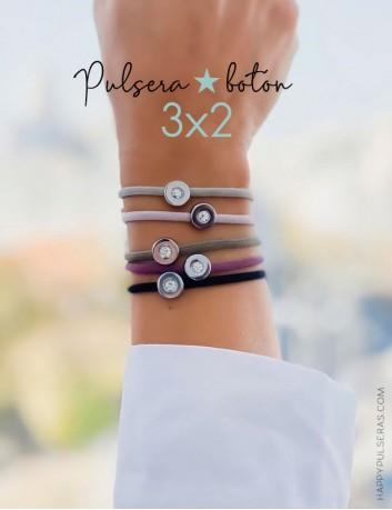 Disfruta de nuestra super oferta!! pagas 2 pulseras botón y te llevas 3, combina colores- Happypulseras